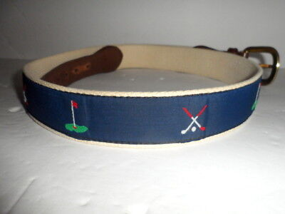 Vintage Cantebury Golf Themed Belt Canvas & Leather Size 34 Preppy Brass Buckle