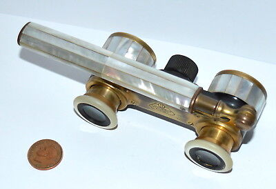 Antique German Telescopic Opera Glasses Mother Of Pearl And Enamel Brass c.1920s