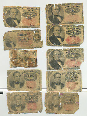 A group lot of ten circulated 3, 10 and 25 cent fractional banknotes