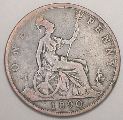 1890 UK Great Britain British One 1 Penny Queen Victoria Coin