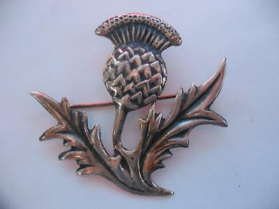 Beautiful Old Vintage Solid Sterling Silver Scottish Thistle Celtic Brooch Pin