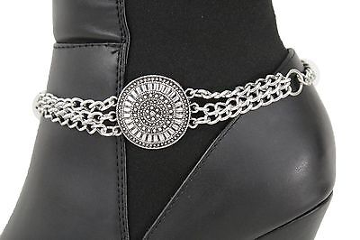 Women Fashion Boot Chain Bracelet Vintage Silver Metal Strap Shoe Ethnic Charm