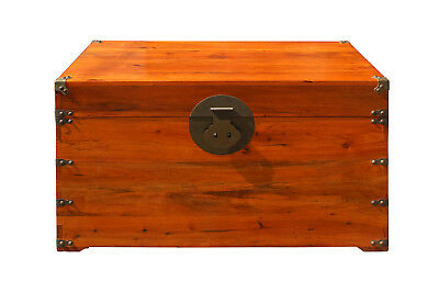 Oriental Chinese Brown Wood Moon Face Hardware Trunk Table cs3160