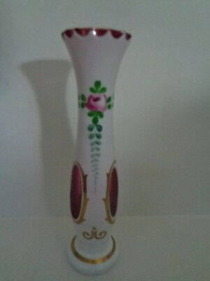 Bohemia ANTIQUE CASED PINK GLASS STRAW  VASE Hand painted CZECH Multi-color