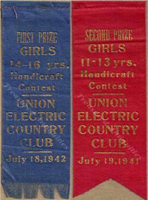 Valley Park Missouri Union Electric Country Club 1942 1st 1941 2nd Prize Ribbons