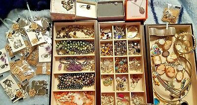 HUGE Sterling Silver Lot & lot of 5 Cameos all 14k Gold Solid wt 46 gr HIGH END