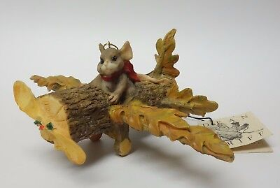 SILVESTRI Charming Tails MOUSE FLYING AIRPLANE ORNAMENT Figurine AUTUMN Leaf