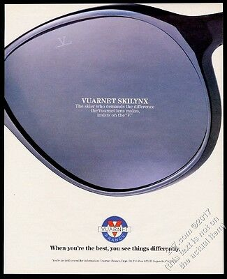 1986 Vuarnet Skilynx sunglasses photo vintage print ad