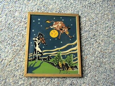 Vintage 1940's Reverse Painting On Glass The Cow Jumped Over The Moon Fingold