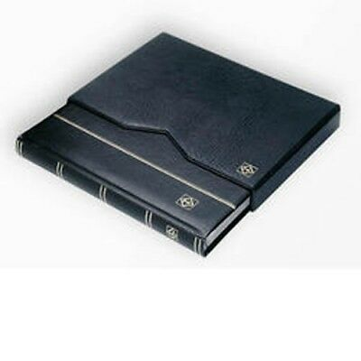 Stockbook A4, 32 black pages,padded leather* cover,+ case,black