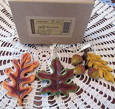 Set Of 3 Longaberger Basket Tie-Ons Fall Leaves Brand New Box