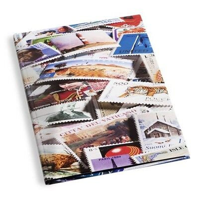 Stockbook DIN A4 with stamps motif, 32 black pages