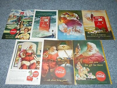 8 Vintage 40's 50's Coke Coca Cola Santa & Sprite Magazine Ads Advertisement Lot