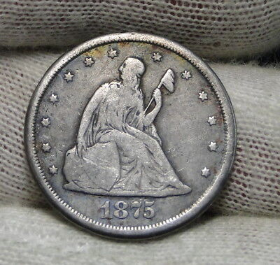 1875-CC Twenty Cent Piece 20 Cents -  Nice Coin, Free Shipping. (6518)
