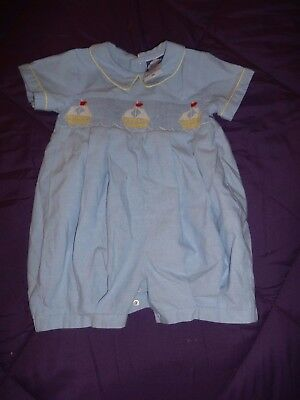 Vintage Carriage Boutiques Blue Sailboat Romper Size 3 months