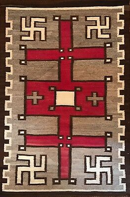 Awesome c1900-1930 WHIRLING LOG-SPIDER WOMAN CROSS NAVAJO RUG,ExcellentCondition