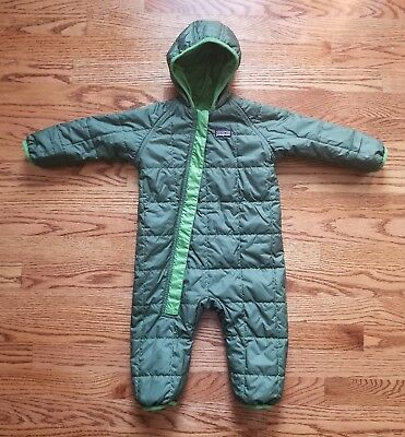 Patagonia Baby Green Quilted Reversible One Piece Snowsuit Size 6M
