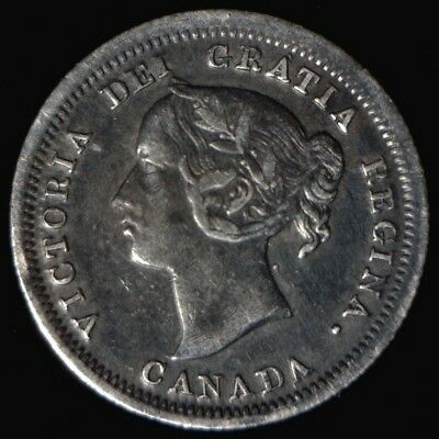 1858 Large Date Canada Silver 5 Cents F Toned