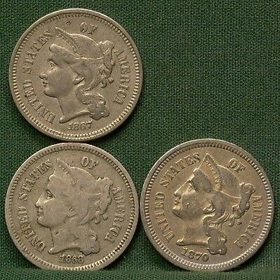 1867, 1868, 1870 3 Cent Nickels VG-F