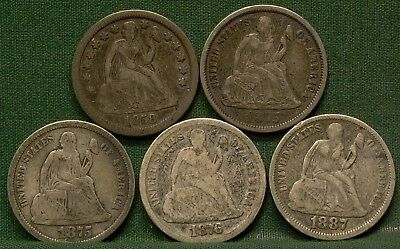 Lot of 5 Seated Liberty Dimes 1858, 1875, 1875-S, 1876, 1887 G-F