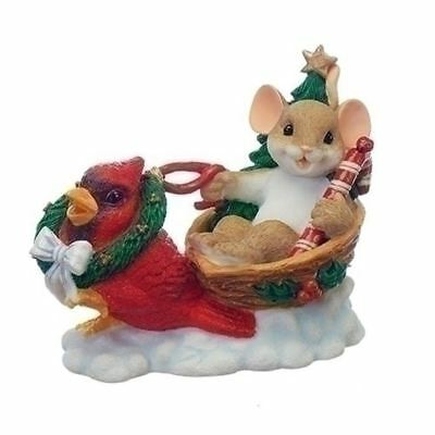 Charming Tails Christmas Mouse in Sleigh w/Cardinal Bird #130443