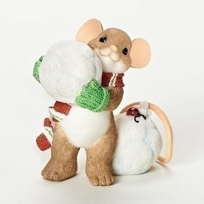 Charming Tails Winter Snowball Fight Mouse Figure #30396