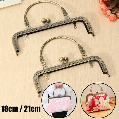 2/5x 21/18cm Metal Kiss Clasp Lock Arch Frame For Wallet Coin Bag Sewing Handbag