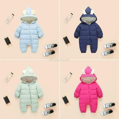 Toddler Baby Kid Padded Rompers Winter Warm Hooded Snowsuit Jumpsuit Outwear New