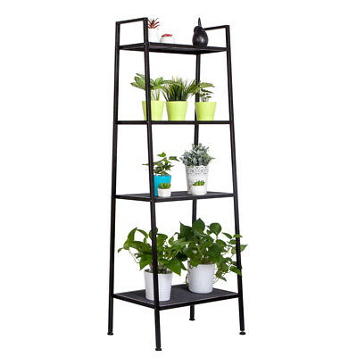4 Tier Metal Leaning Ladder Shelf Bookcase Bookshelf Storage Shelves Unit Black