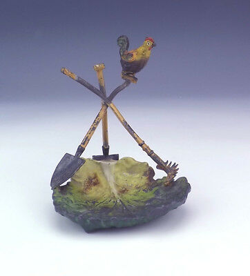 Antique Cold Painted Spelter - Chicken On Gardening Tools Figure  - Unusual!