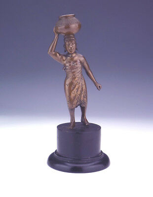 Antique Patinated Bronze - Asian Or African Lady Carrying A Basket - Unusual!