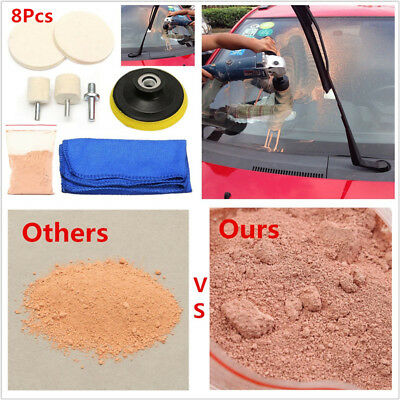 "8Pc 70 ml Solution+3"" Polishing Pads+Fibre Cloth Car Windows Glass Polishing Kit"