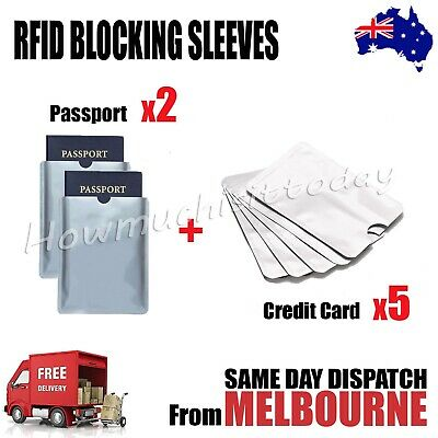 2x Passport & 5x RFID Blocking Credit Debit Card Protector Sleeve Shield Holder