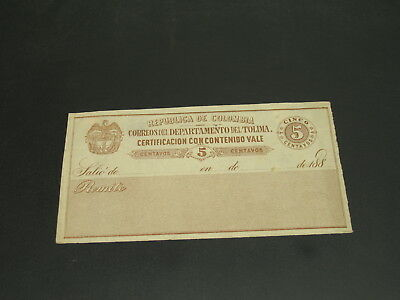 Colombia 1880s mint postal document *19599