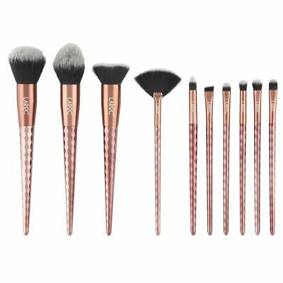 LaRoc 10pc Professional Diamond Makeup Brush Set Kit Cosmetic Foundation Blush