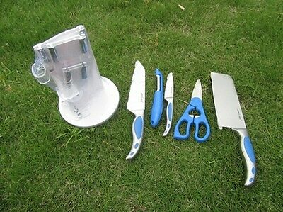 1Set X 6Pcs Blue Kitchen Scissors and Knife With Display Rack