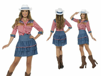 Cowgirl Rodeo Calamity Jane Fancy Dress + Hat Ladies Size 8-18