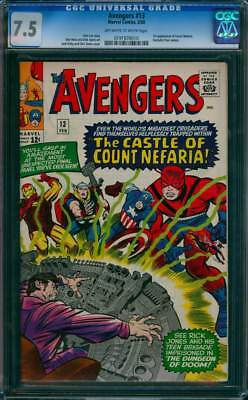 Avengers # 13  The Castle of Count Nefaria !  CGC 7.5 scarce book !