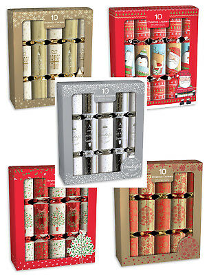 Box Of 10 Christmas Crackers Assorted Designs Includes Joke Hat Gift Party Fun