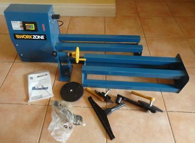 As New Workzone Wood Turning Lathe 4 Speed 400W 350mm Turn 1000mm Bed No Reserve