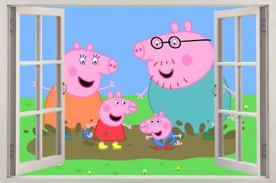 Peppa Pig 3D Window Decal Wall Sticker Home Decor Art Mural Kids J631