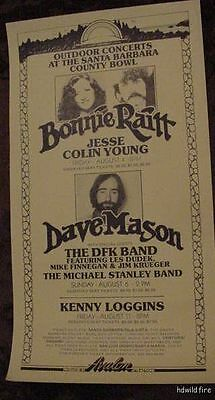BONNIE RAITT 1972 70s BLUES CONCERT POSTER DAVE MASON JESSE COLIN YOUNG CA. TOUR