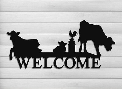 Funny Cow Welcome Sign-Cattle-Dairy Farms-Farm And Ranch Decor #welcow3-24