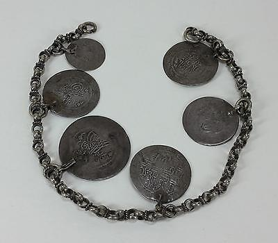 Vintage turkish bracelet with antique Ottoman silver coins with tugra