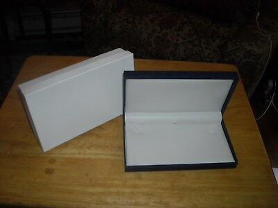 """5 new retail hinged necklace boxes blue 7x 4 1/4 x 1"""""""