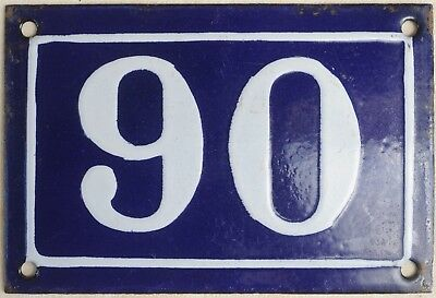 Old blue French house number 90 door gate plate plaque enamel steel sign c1950