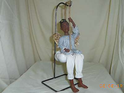Sarah Daddys Long Legs African American Black Angel doll on swing made in USA