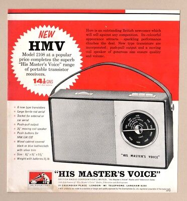 """""""HIS MASTERS VOICE"""" TRANSISTER RADIO  -  Model 2108   (1962 Advertisement)"""