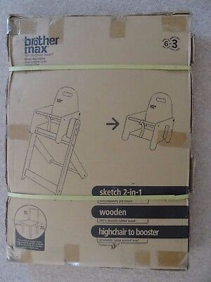 Brother Max Sketch 2 in 1  Wooden Highchair & Booster Seat