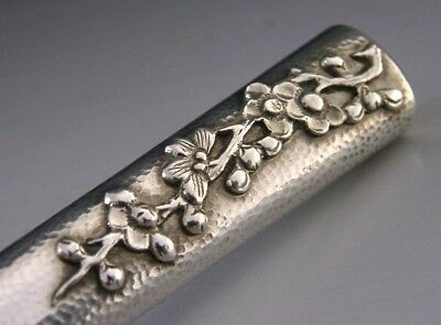 BEAUTIFUL CHINESE EXPORT SILVER BLOSSOM BUTTER SPREADER c1900-1910 ANTIQUE
